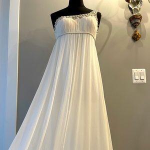 Aidan Mattox White Chiffon Dress